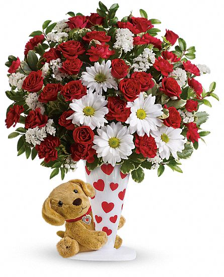 I Ruff You Bouquet with plush puppy