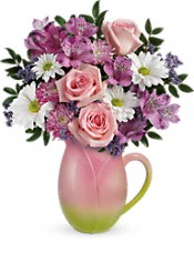 Teleflora's Spring Tulip Pitcher Bouquet Flowers