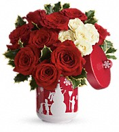 Teleflora's Roses And Holly Bouquet Flowers