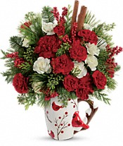 Send a Hug Christmas Cardinal by Teleflora Flowers