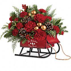 Bouquet de fleurs Traîneau d'antan