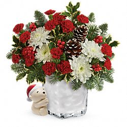 Bouquet de fleurs Câlin ours affectueux