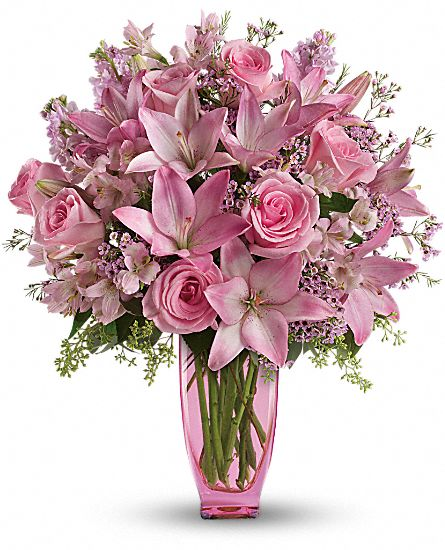 Pink pink bouquet with pink roses flowers pink pink for Pink roses flower arrangements