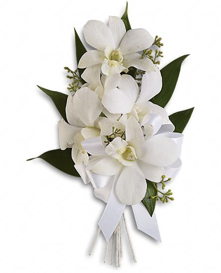 fresh flower corsages. a corsage with flowers succulets. white, Beautiful flower