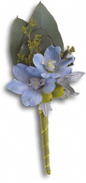 Hero's Blue Boutonniere Flowers