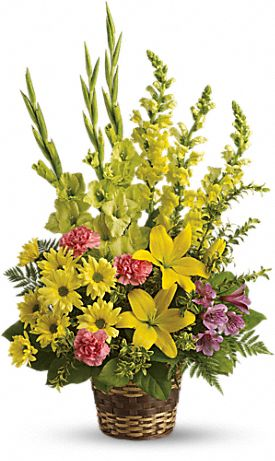 Vivid Recollections Funeral Basket of Flowers