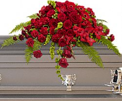 Red Rose Sanctuary Casket Spray Flowers