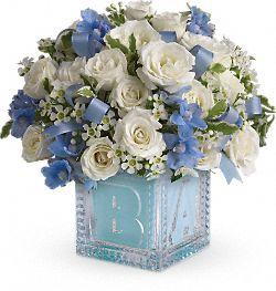 Fleurs Premier bloc de bébé - bleu