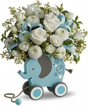 MiGi Baby Elephant by Teleflora - Blue Flowers