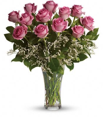 Make Me Blush - Dozen Long Stemmed Pink Roses Flowers