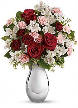 Bouquet de fleurs Fou de toi avec roses rouges
