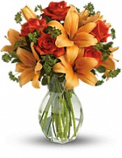 Fiery Lily and Rose Flowers