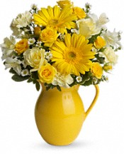 Teleflora's Sunny Day Pitcher of Cheer Flowers