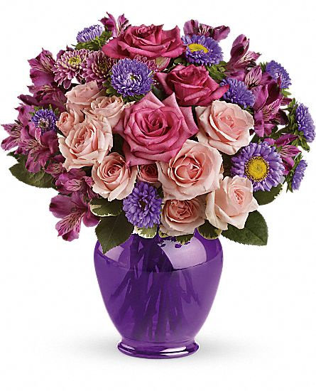 Teleflora's Purple Medley Bouquet with Roses Flowers