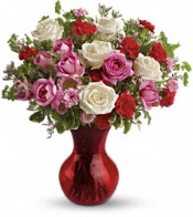 Splendid in Red Bouquet with Roses Flowers