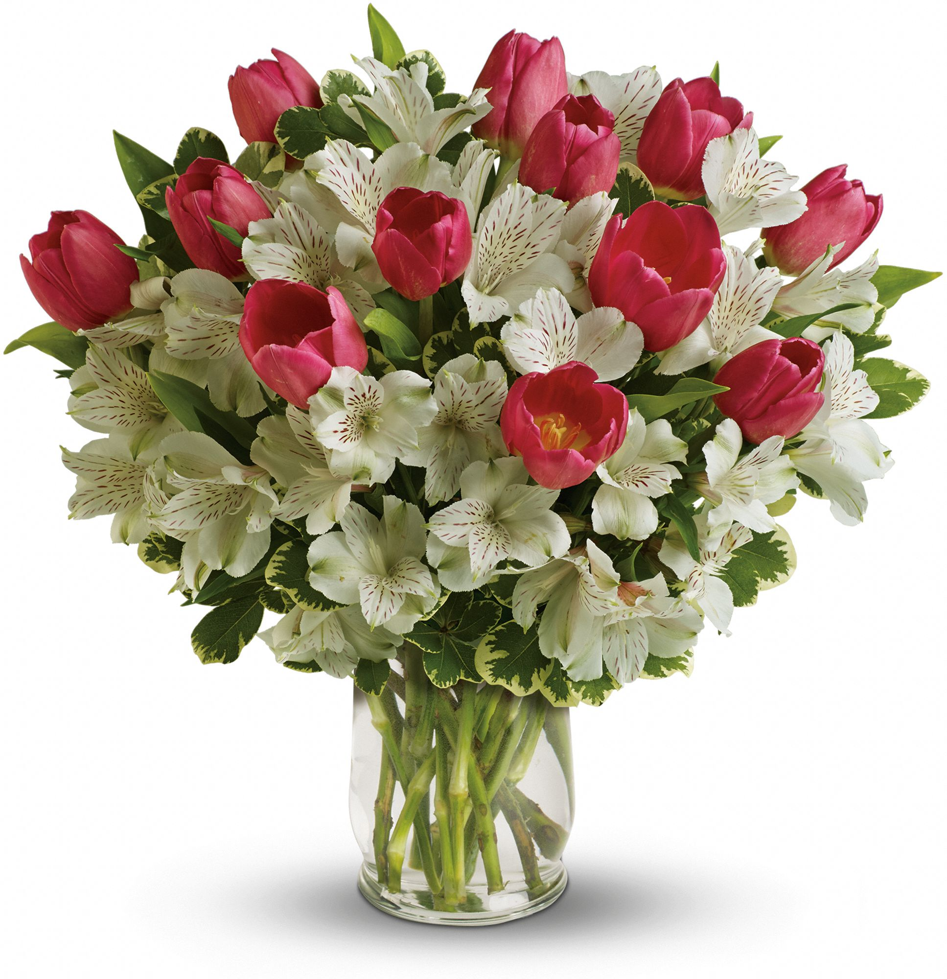 Spring romance bouquet of tulips and peruvian lilies