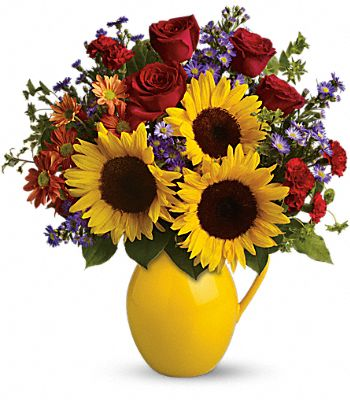 Teleflora's Sunny Day Pitcher of Joy Flowers