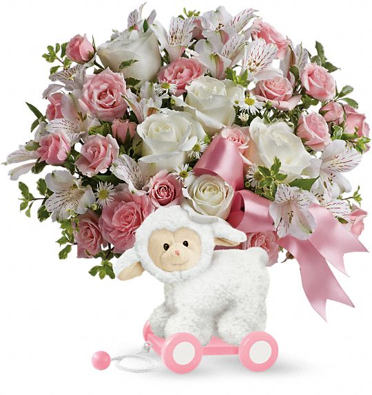 Teleflora's Sweet Little Lamb - Baby Pink Flowers