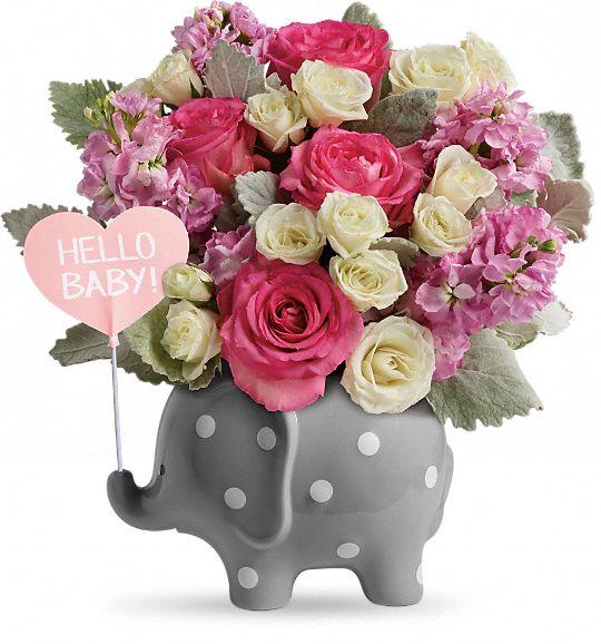 Teleflora's Hello Sweet Baby - Pink Flowers