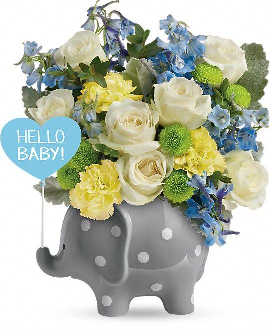 Teleflora's Hello Sweet Baby - Blue Flowers