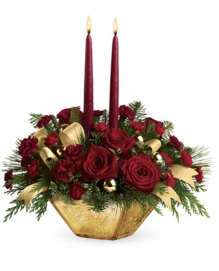 Teleflora's Crimson and Gold Centerpiece Flowers