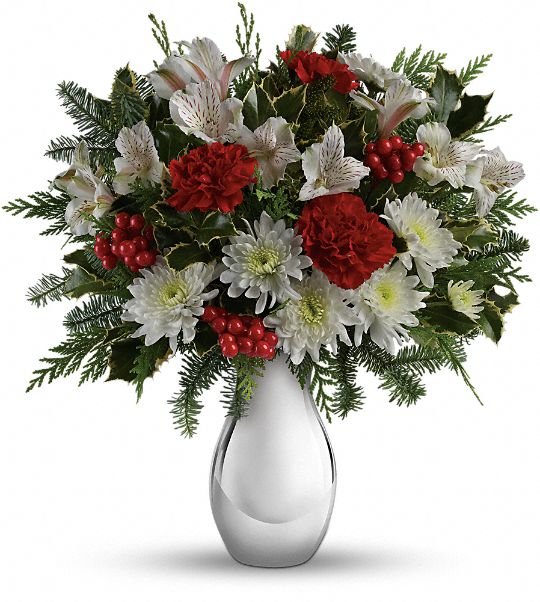 Teleflora's Silver And Snowflakes Bouquet Flowers