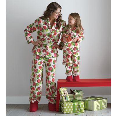 Mother, Daughter & Doll Holiday Hydrangea Flannel Pajamas