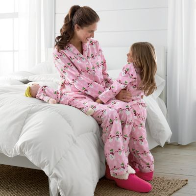 Mother, Daughter & Doll Snow Day Flannel Pajamas