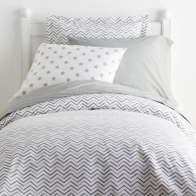 Chevron Gray Percale Bedding