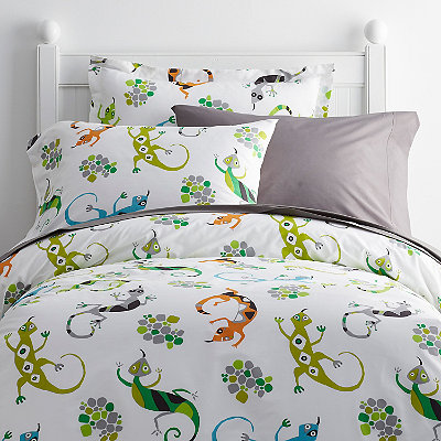 kids 39 leaping lizards percale sheets bedding set companykids. Black Bedroom Furniture Sets. Home Design Ideas