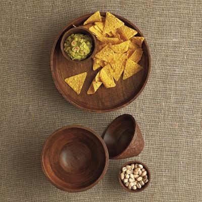 Carved Mango Wood Serving Bowls