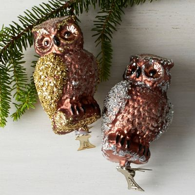 Owl Art Glass Ornaments