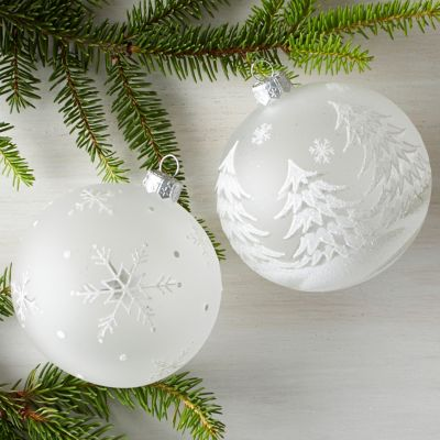 Winter Ball Art Glass Ornaments