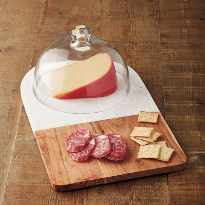 Marble Platter with Glass Dome