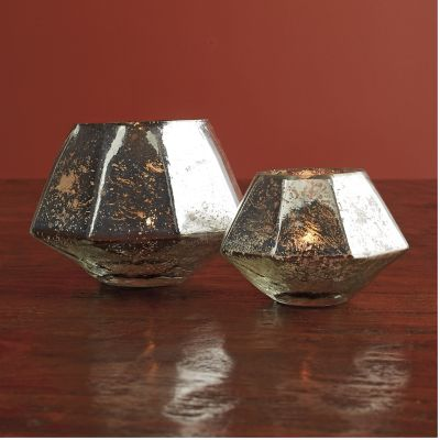 Faceted Mercury Glass Candle Holders, Set of 2