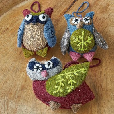 Owl Felt Holiday Ornaments