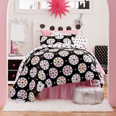Pinwheel Floral and Dot Bedding