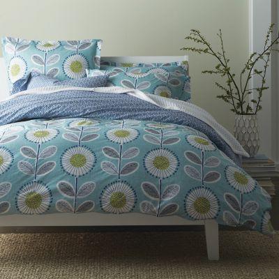 Organic Prairie Floral & Leaf Percale Bedding