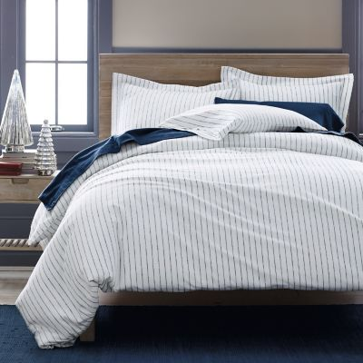 Spencer Stripe 6-Oz. Flannel Bedding - White