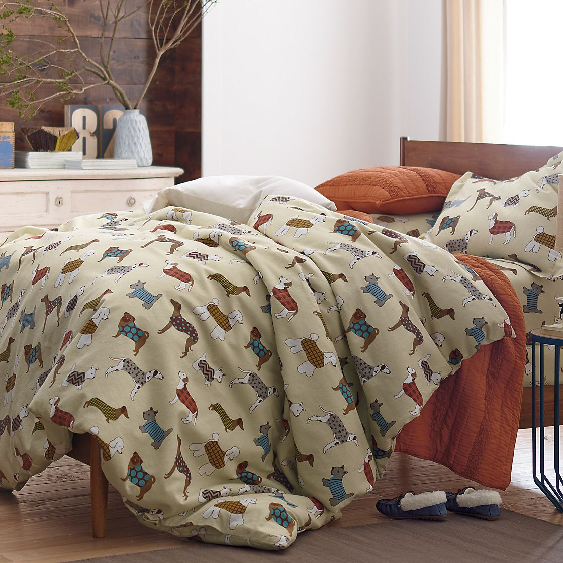 Walk The Dog Flannel Duvet Cover The Company Store