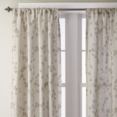 Kimi Leaf Ivory Linen Window Panels