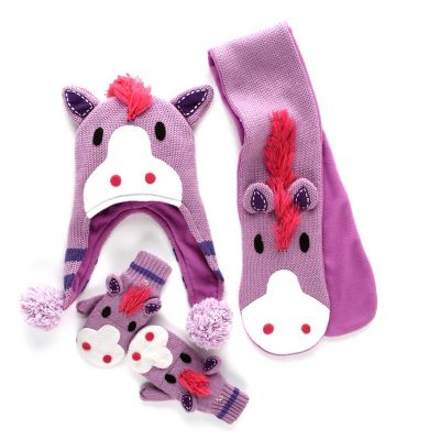 Kids' Horse Sweater, Hat, Scarf & Mittens