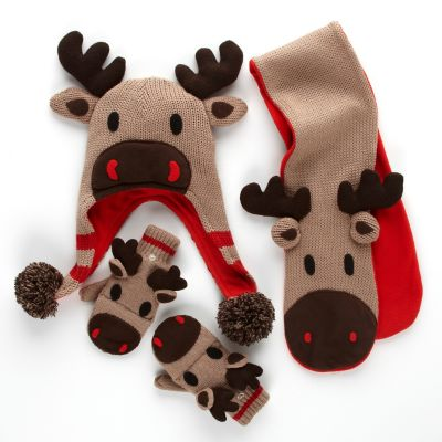 Kids' Moose Sweater, Hat, Scarf & Mittens
