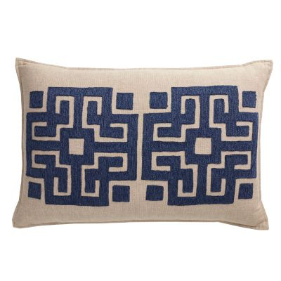 Blue Fretwork Accent Pillow Cover