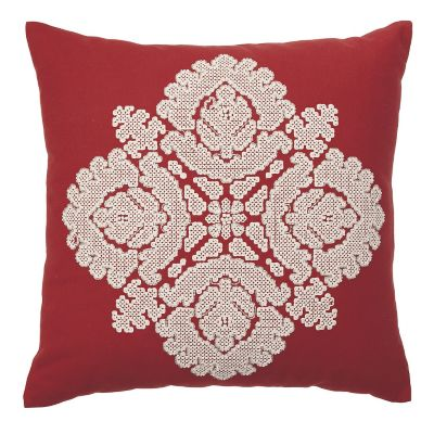 Embroidered Flower Pillow Cover