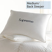 Down, Medium, Back Sleepers, Supreme Pillows