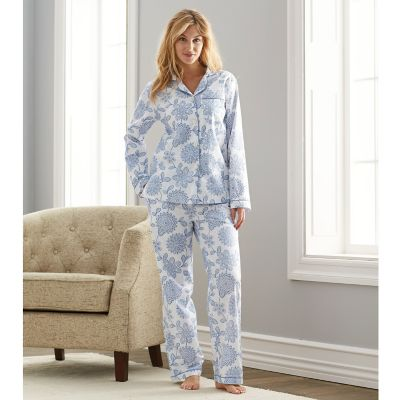 Woven Cotton Pajamas – Blue Floral