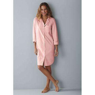 Woven Cotton Nightshirt - Pink