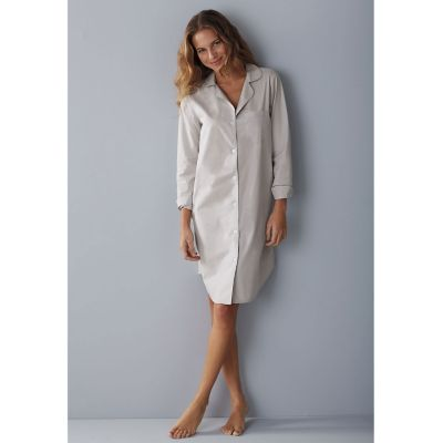 Woven Cotton Nightshirt - Silver