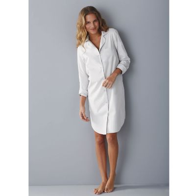 Woven Cotton Nightshirt - White